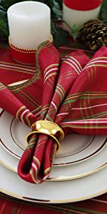 Elrene Home Fashions Shimmering Plaid Red and Green Table Collection