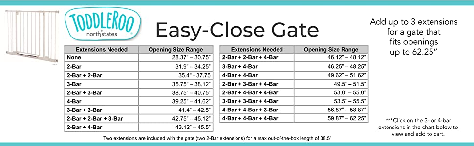 extension chart for easy-close gate