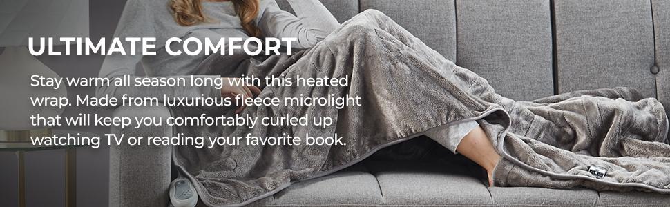 ultimate comfort, ultra plush heated foot throw blanket