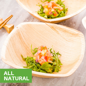 Restaurantware has palm leaf bowls in sizes for serving salads, soups, and side dishes.