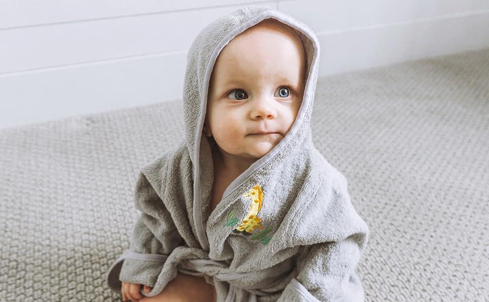 baby bathrobe giraffe grey cozy warm cute hood embroidery booties cuffs