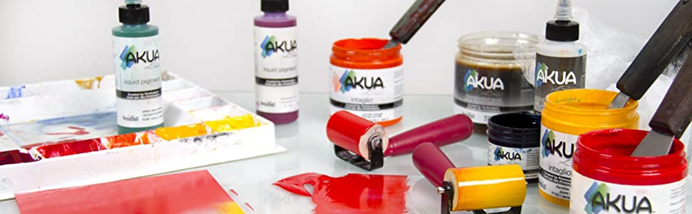 akua, liquid pigment, intaglio, monotype, monoprinting, printmaking ink, speedball