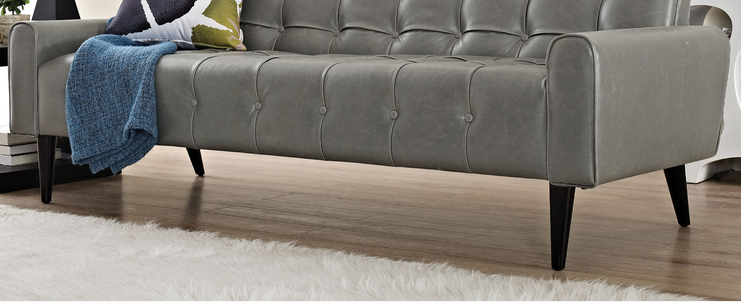 tufted buttons,faux leather,exceptional appeal,curved armrests,chic shape,solid wood legs
