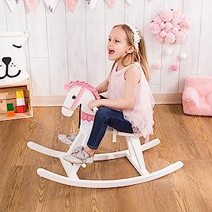 Teamson kids, rocking horse, kids rocking horse, pink rocking horse, girls toys, ride on kids, girls