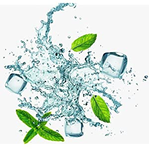 Splashing water with mint leaves and ice cubes