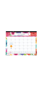 blue sky, mahalo collection, 2020-2021, bold florals, 22x17, monthly, desk pad calendar