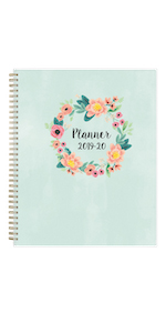 blue sky, laurel collection, academic planner cover, weekly, monthly, 2019-2020, 8.5x11
