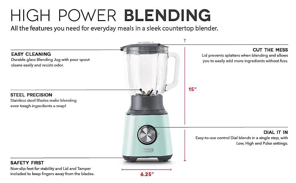 Blender, Countertop Blender, 2 settings, Stainless Steel, 1.5L