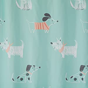 shower curtain, dog shower curtain, scribble pups, shower curtains with dogs