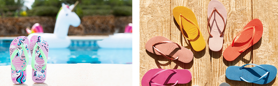 Havaianas kids and womens flip flop sandals by the pool and on the deck.