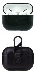 Airpods Pro black protective leather case cover