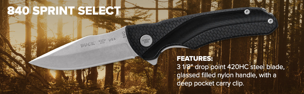 840 Sprint Select Features 420HC Blade, Glass Filled Nylon Handle, Removable Deep Carry Pocket Clip