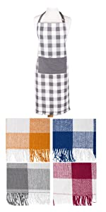 apron,chef apron,kitchen apron,apron with pockets,women apron,men apron,check apron,plaid apron