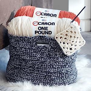caron one pound yarn knit craft crochet blanket soft bulky