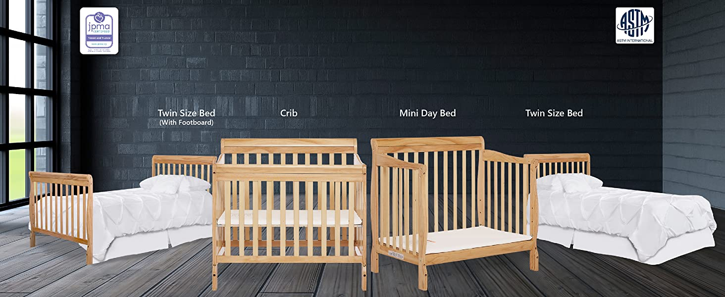 Crib Mini daybed Twin size bed Twin size bed with footboard  mini crib baby crib