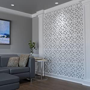 Ekena Millwork WALP16X18HMP Medium Hampton Decorative Fretwork Wall Panels in Architectural Grade PVC