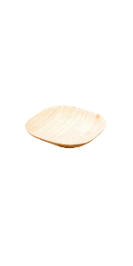 Small palm leaf disposable plates are a good way to serve appetizers, side dishes, and desserts.