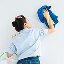 woman cleaning, scrub wall, durable paint
