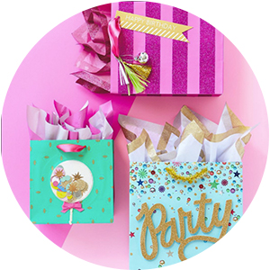 Hot pink, aqua, turquoise & gold gift bags for birthdays, bachelorette parties & brides to be
