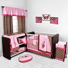 Bacati Ladybugs Pink/Chocolate Bedding