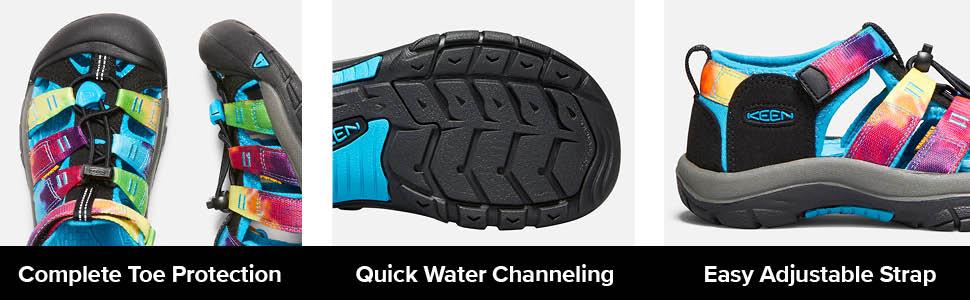 big kids newport h2 closed toe water shoe tech info quick water cahnneling