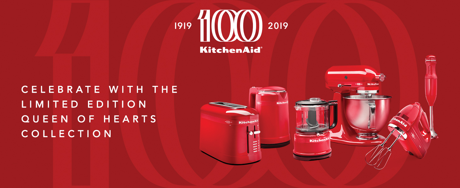 KitchenAid, 100, Queen of Hearts, Collection, Mixer, Food Chopper, Hand Blender, Kettle, Toaster