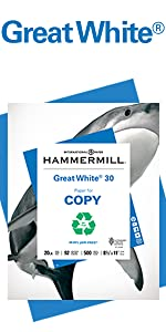 Hammermill Great White 30 lb letter size paper, 500 sheets, 30% recycled, Made in the USA.