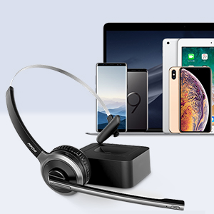 Over The Head Cell Phone Headsets with Noise Cancelling Microphone Comfort-fit Truck Driver Headset for Call Center Skype Office Mpow M5 Pro Trucker Bluetooth Headset with 180H Charging Station