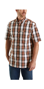 mens shirts, plaid, short sleeve, work, workwear