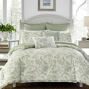 floral bedding;green bedding;comforter set;green comforter set