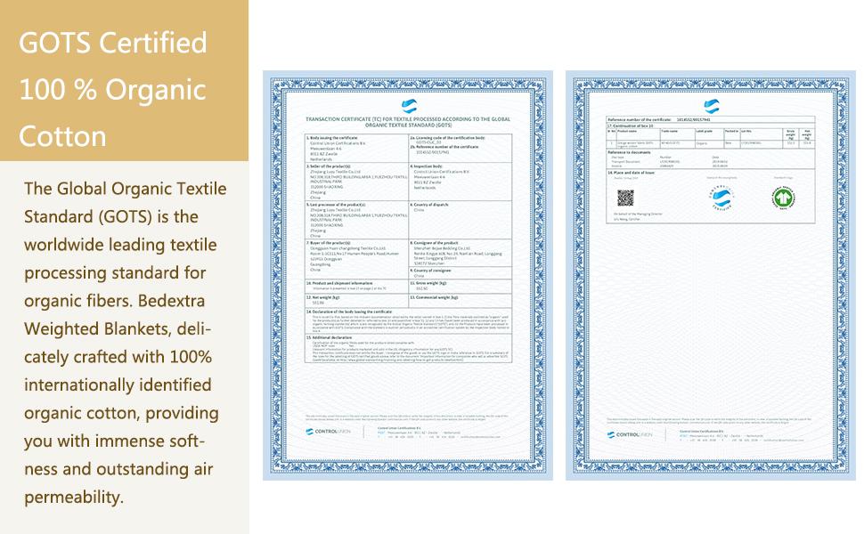 100% Organic Cotton Certificate