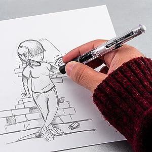 pentel, hand, left, pencil, pencils, mechanical, side, click, quick, quick click, clear point