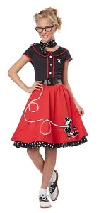 Greece, Pink Ladies, Poodle Skirt, 1950's, 50's, Fifties, Sock Hop, Decade Costume, Red Skirt, Girl
