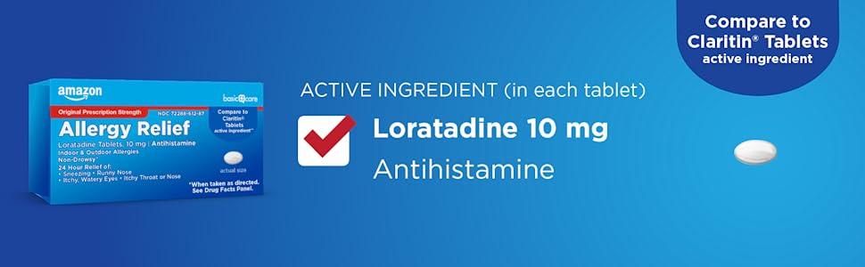 Amazon Basic Care Allergy Relief Loratadine 10 mg antihistamine, Claritin