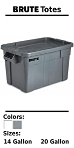 Rubbermaid Commercial Products BRUTE Tote Storage Container Box Bin Lid Home House Garage Plastic