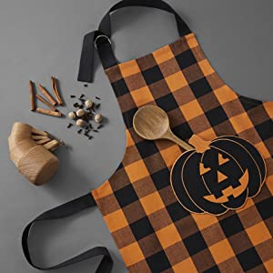 Elrene Home Fashions Farmhouse Living Buffalo Check Pumpkin Pocket Apron