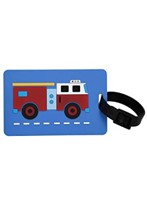 wildkin fire truck luggage bag tags 2 pack