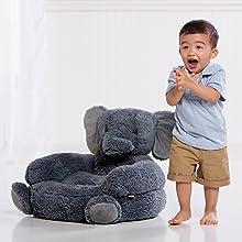 elephant character chair, plush elephant chair, gray elephant plush chair