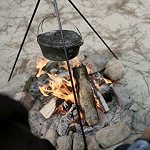 camp fire tripod cooking
