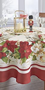 Elrene Home Fashions Red and White Poinsettia Holiday Round Tablecloth
