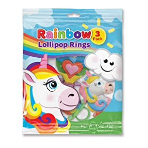Rainbow unicorn lollipop rings perfect for birthday parties, Easter baskets, and school lunches.