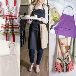 apron women aprons men black gifts kitchen chef cooking canvas pockets work accessories shirt set