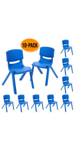 10in Resin School Stack Chair 10-Pack - Blue