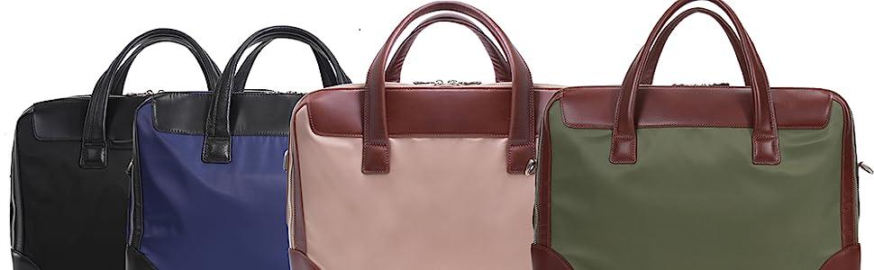 Dual compartment nylon travel briefcase. Green, navy, khaki, black.