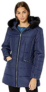 Warm Winter Coat with Faux Trimmed Hood
