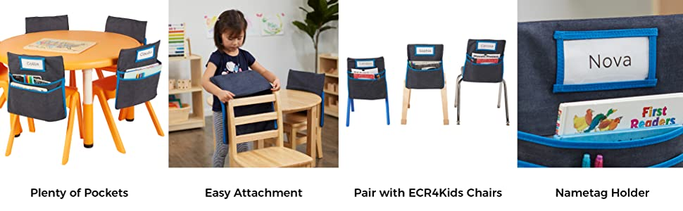Small ECR4Kids Classroom Chair Seat Companion Pocket Organizer with Name Tag
