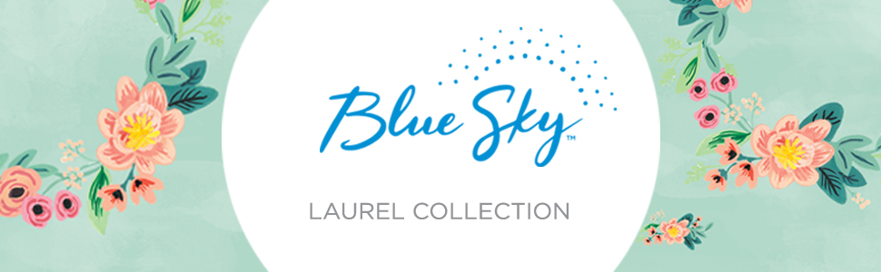 blue sky, laurel collection banner, planners, calendars, academic year, weekly and monthly, florals