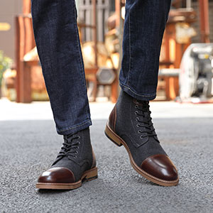 La Milano Mens Winter Dress Boots Cap Toe Lace up Genuine Leather Oxford  Comfortable Casual Wool Ankle Jack Boots for Men