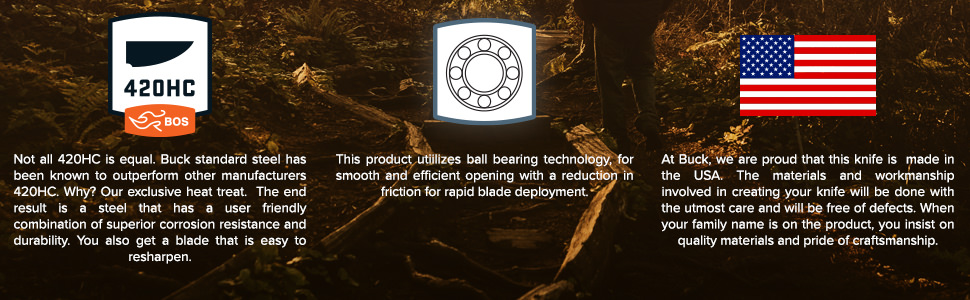 Proudly Made in USA, Ball Bearing Technology for Smooth Rapid Deplotment, 420HC Blade
