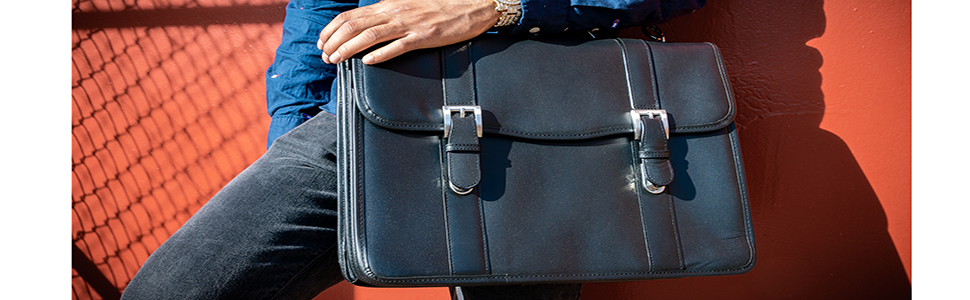 Leather Double Compartment Laptop Briefcase with satchel